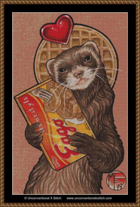 Waffles Ferret cross stitch pattern