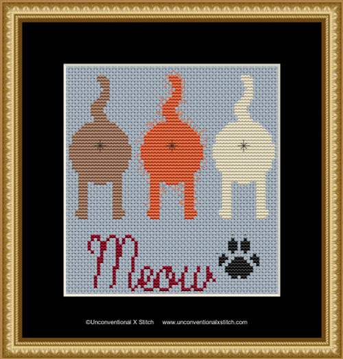 Meow cross stitch pattern