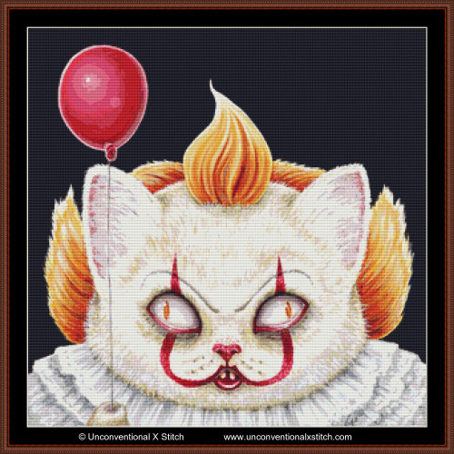 Pennywise Cat cross stitch pattern