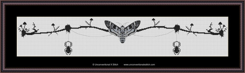 Death Head Moth Banner cross stitch pattern