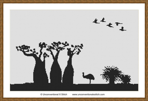 Australian Silhouette cross stitch pattern