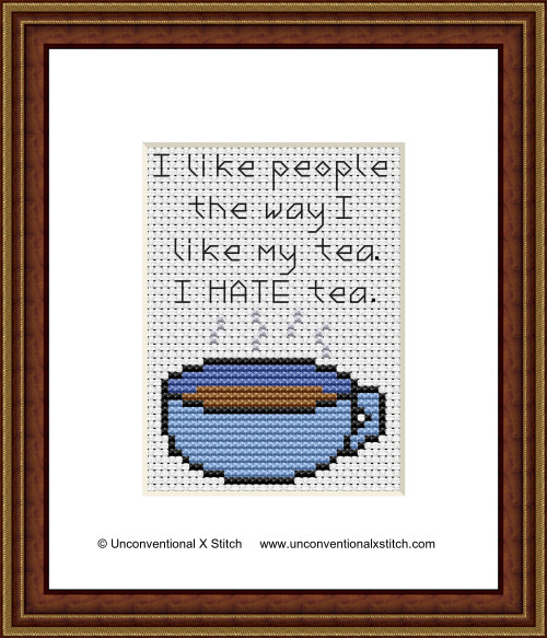 I Hate Tea cross stitch pattern (Miniature Edition)