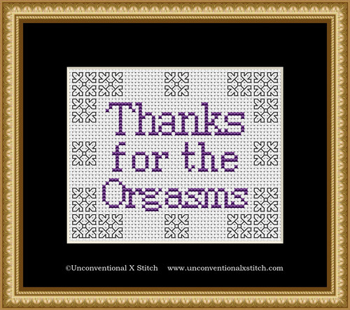 Thanks for the Orgasms cross stitch pattern