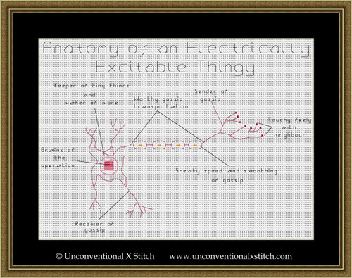 Anatomy of an Electrically Excitable Thingy cross stitch pattern