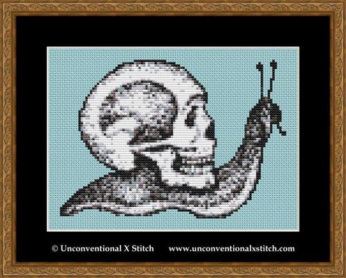 Macabre Snail cross stitch pattern