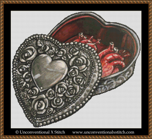 Heart Shaped Box cross stitch pattern