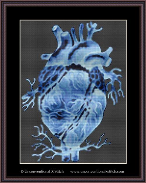 Anatomical Ice Heart cross stitch pattern