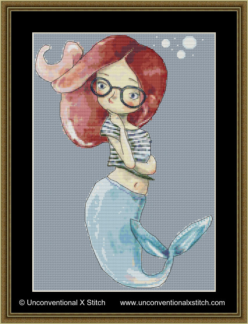 Little Red Mermaid cross stitch pattern
