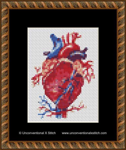 Anatomical Heart cross stitch pattern (Miniature Edition)
