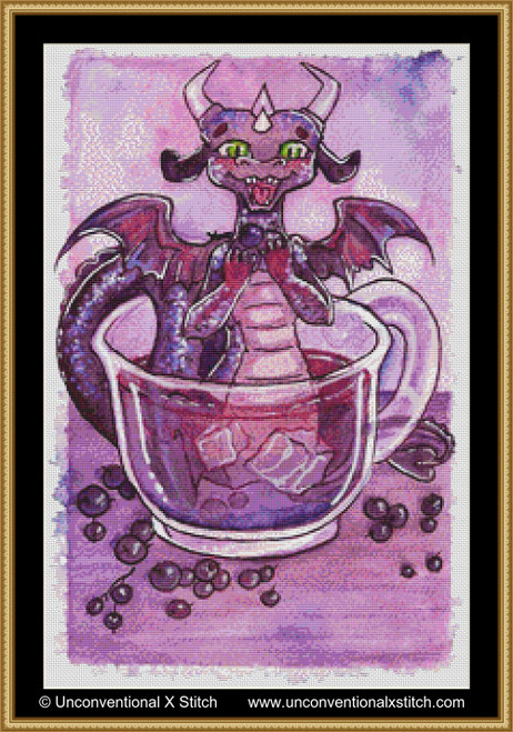 Blackberry Juice Dragon cross stitch pattern