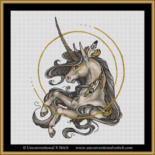 Golden Feather Unicorn cross stitch pattern