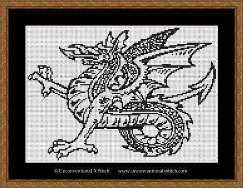 Simple Colour In Dragon cross stitch pattern