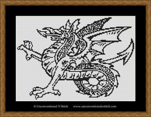 Simple Colour In Dragon cross stitch pattern