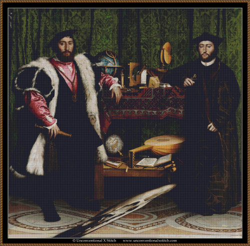 The Ambassadors Hans Holbein the Younger 1533 cross stitch pattern