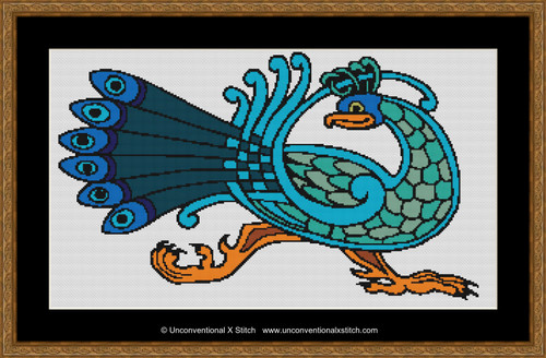 Celtic Peacock cross stitch pattern