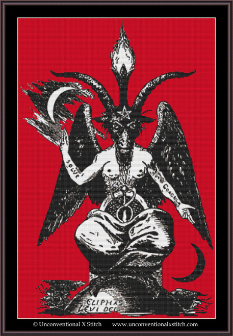 Baphomet cross stitch pattern (Background Removed Edition)