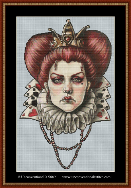 Queen of Hearts cross stitch pattern