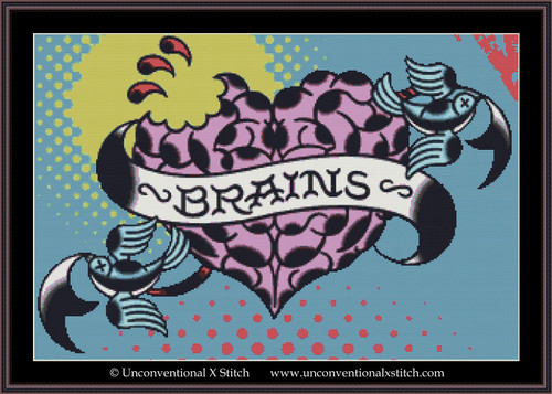 Brains  cross stitch pattern (Background Removed Edition)