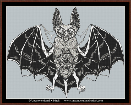 Demonic Bat cross stitch pattern (Background Removed Edition)