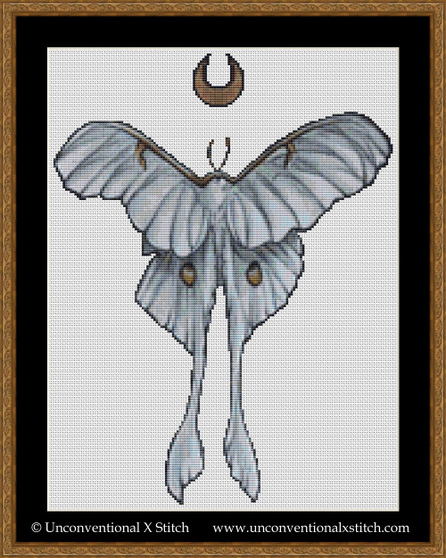 Moon Moth cross stitch pattern