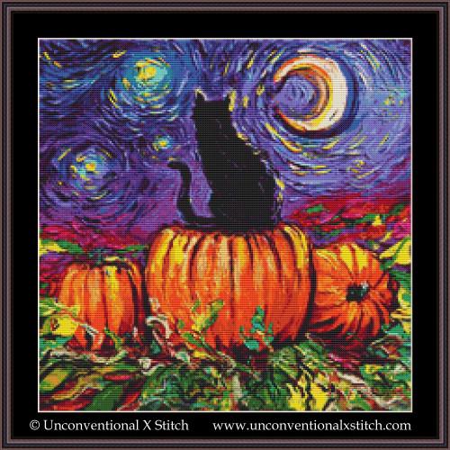 Starry Hallow's Eve cross stitch pattern