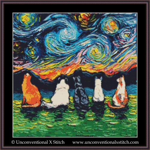 Starry Cats cross stitch pattern