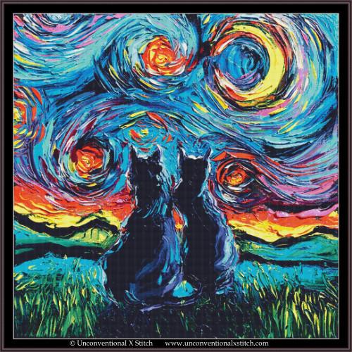 Van Gogh's Cats cross stitch pattern (XL Edition)
