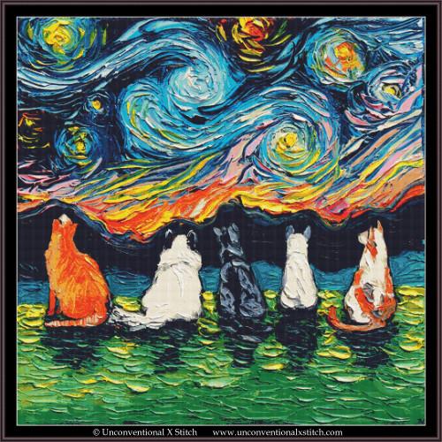 Starry Cats cross stitch pattern (XL Edition)