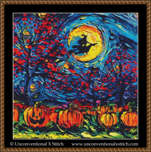 Starry Halloween cross stitch pattern