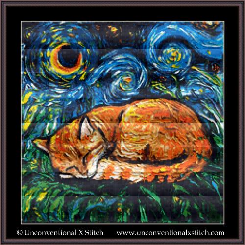 Tabby Cat Night cross stitch pattern