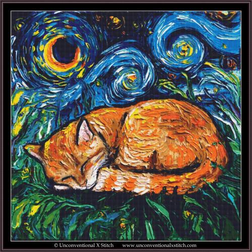 Tabby Cat Night cross stitch pattern (XL Edition)