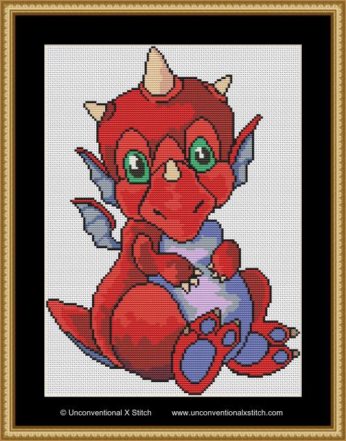 Baby Red Dragon cross stitch pattern
