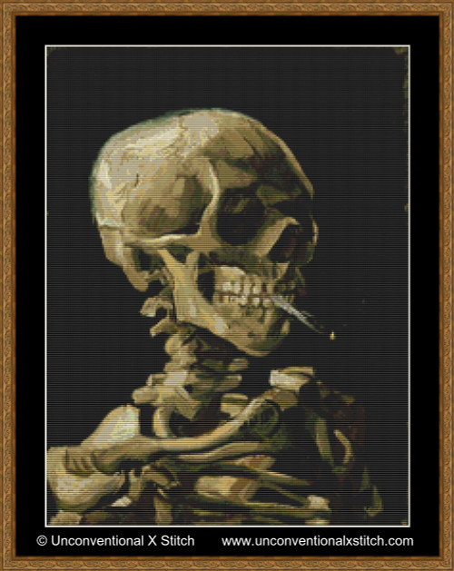 Skull of a Skeleton with Burning Cigarette cross stitch pattern