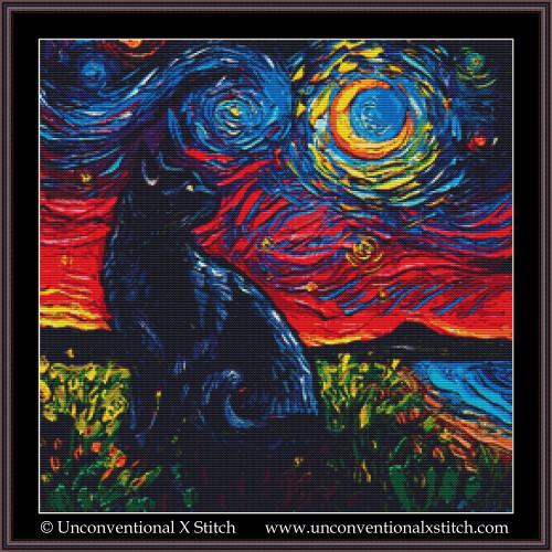 Black Cat Night 2 cross stitch pattern