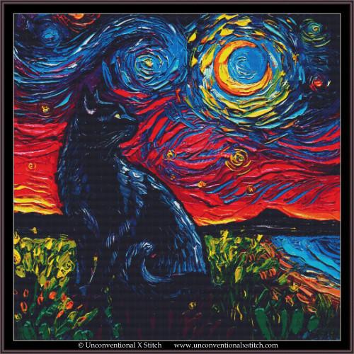 Black Cat Night 2 cross stitch pattern (XL Edition)