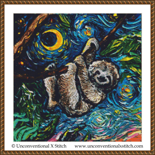 Three Toed Sloth cross stitch pattern
