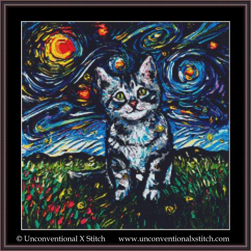 Tabby Kitten Night cross stitch pattern