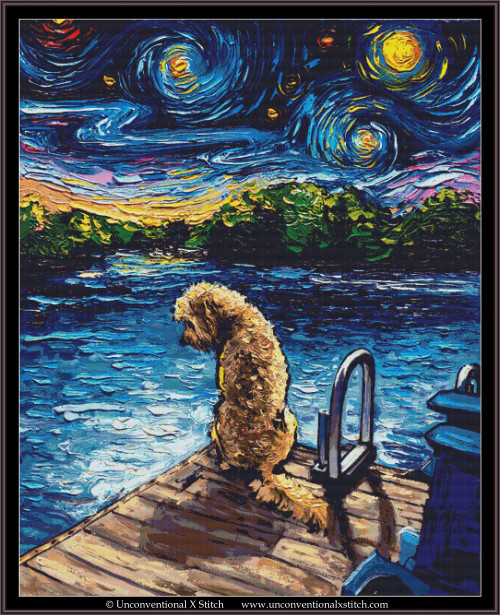 Goldendoodle Night 3 cross stitch pattern (XL Edition)