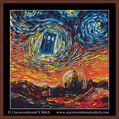 Van Gogh Never Saw Gallifrey cross stitch pattern