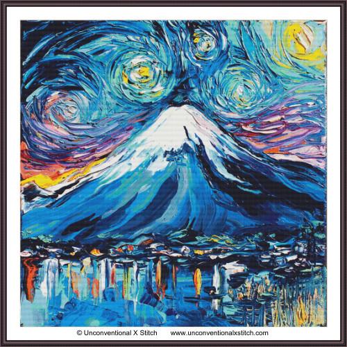 Van Gogh Never Saw Mount Fuji cross stitch pattern (XL Edition)