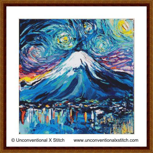 Van Gogh Never Saw Mount Fuji cross stitch pattern
