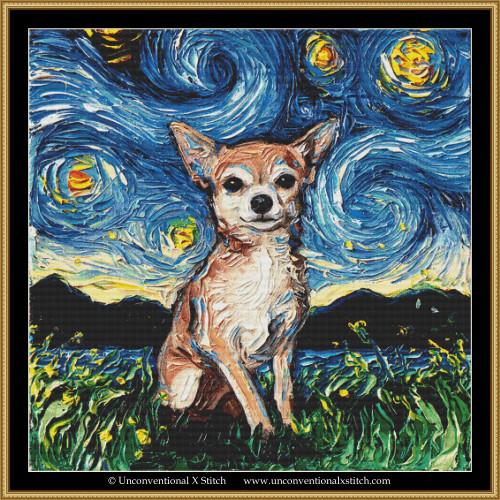 Chihuahua Night XL cross stitch pattern