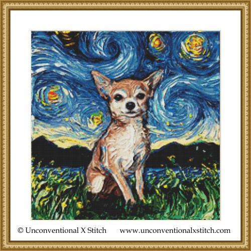Chihuahua Night cross stitch pattern