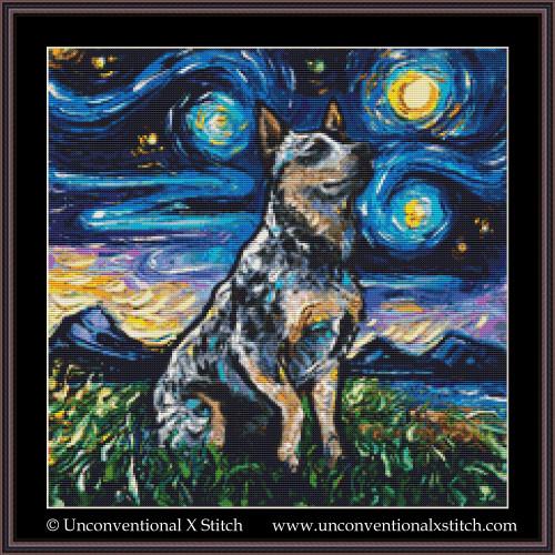 Blue Heeler Night cross stitch pattern