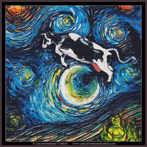 The Cow Jumped Over The Moon cross stitch pattern (XL Edition)