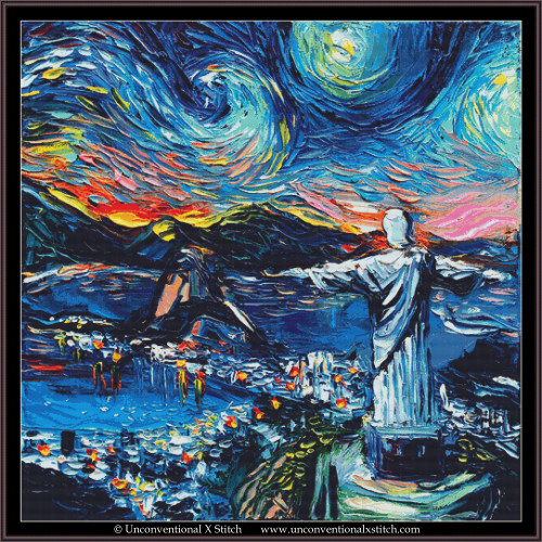Van Gogh Never Saw Christ the Redeemer cross stitch pattern (XL Edition)