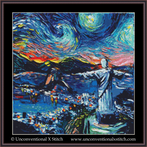 Van Gogh Never Saw Christ the Redeemer cross stitch pattern