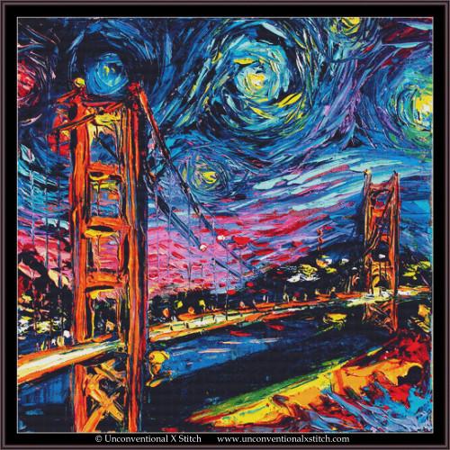 Van Gogh Never Saw Golden Gate cross stitch pattern (XL Edition)