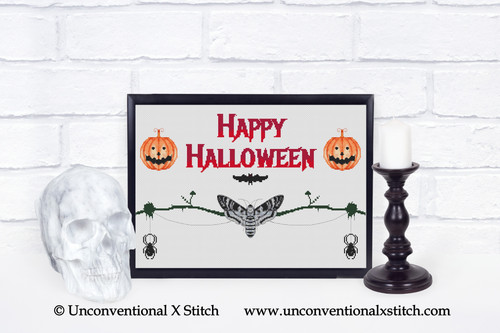 Happy Halloween cross stitch pattern