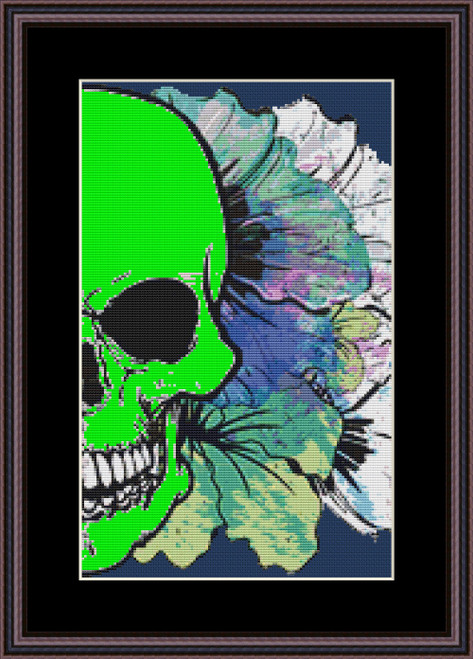 Jungle Skull cross stitch pattern (Glow in the Dark Edition)